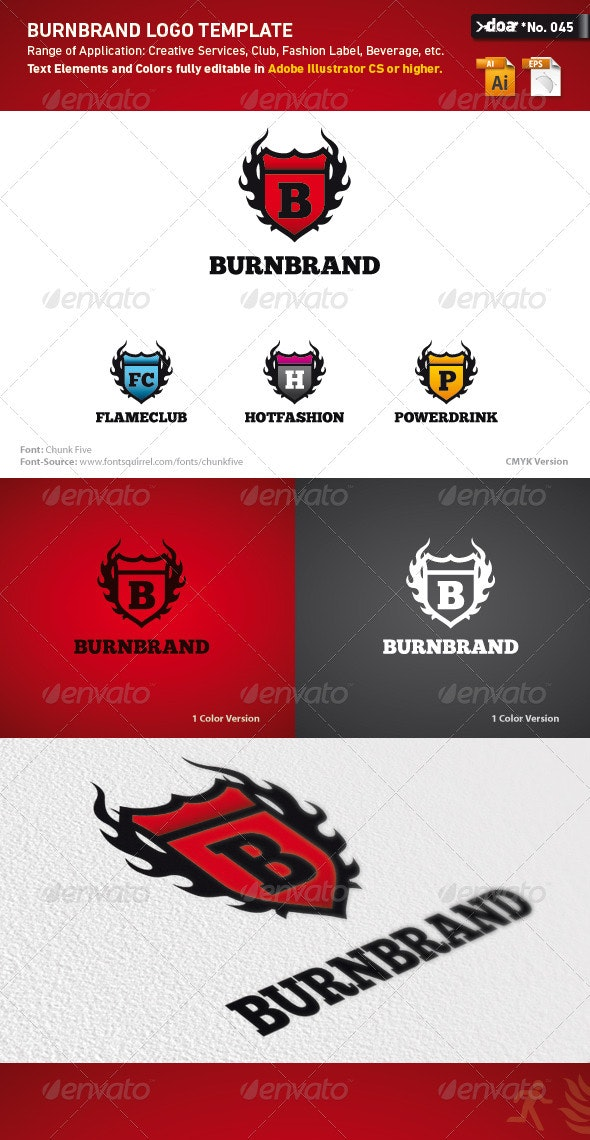 Burnbrand Logo Template - Crests Logo Templates