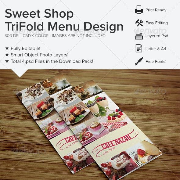 Sweet Shop Trifold Menu Design