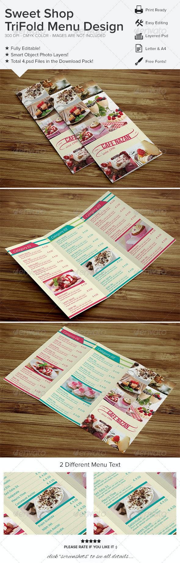 Sweet Shop Trifold Menu Design - Food Menus Print Templates