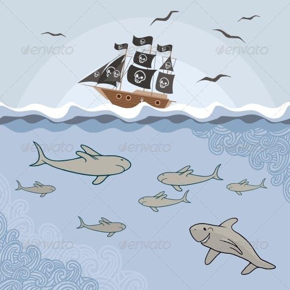 Template with Cartoon Sharks