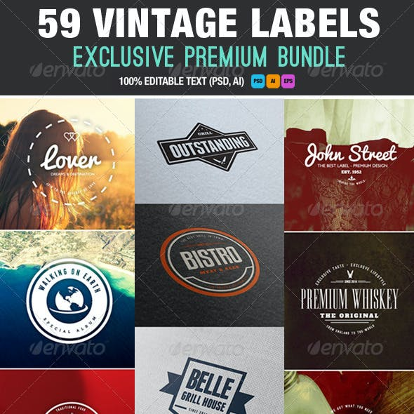 Premium Bundle 59 Vintage Labels & Badges