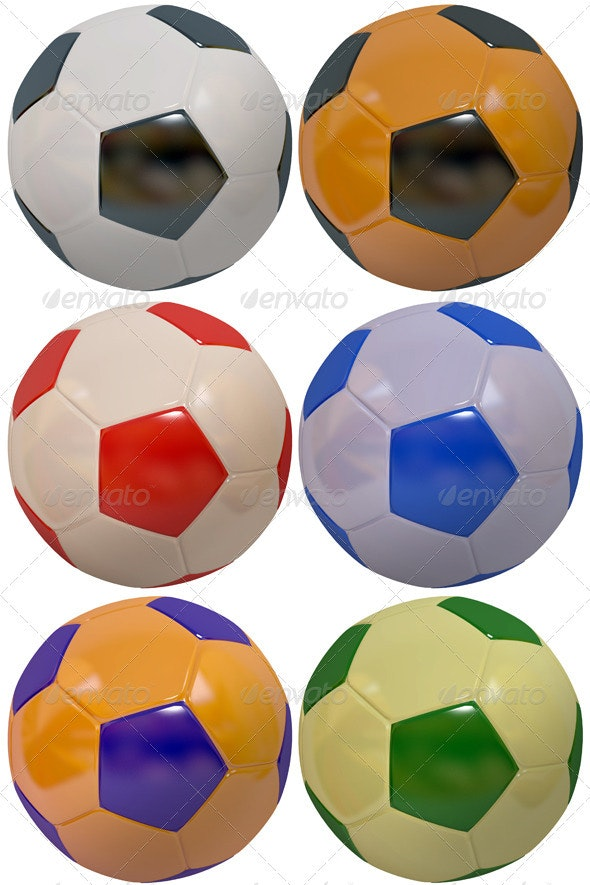 Set of Multicolored Footballs - Objects 3D Renders