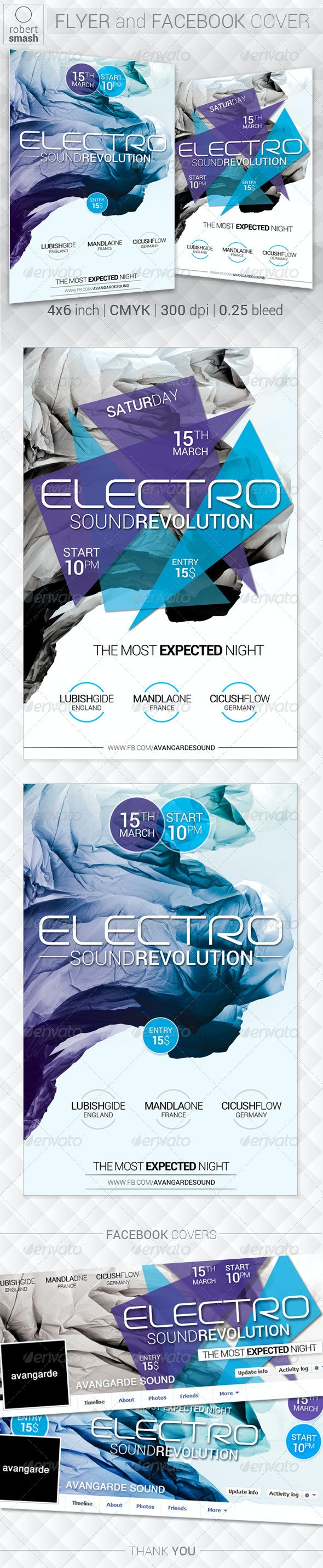 Electro Sound Revolution Flyer - Clubs & Parties Events