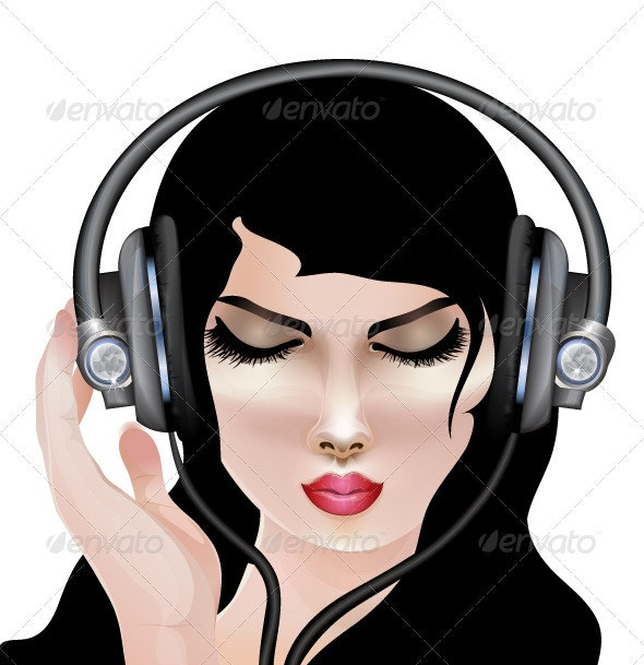 Girl with headphones - Characters Vectors