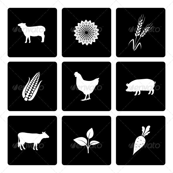 Rural Icons Set - Animals Characters