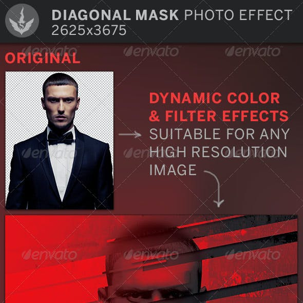 Diagonal Mask Photo Effect Template