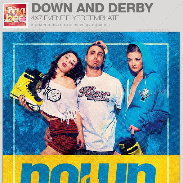Down and Derby Skating Event Flyer Template