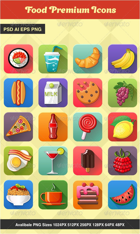 20 Premium Food Icons - Food Objects
