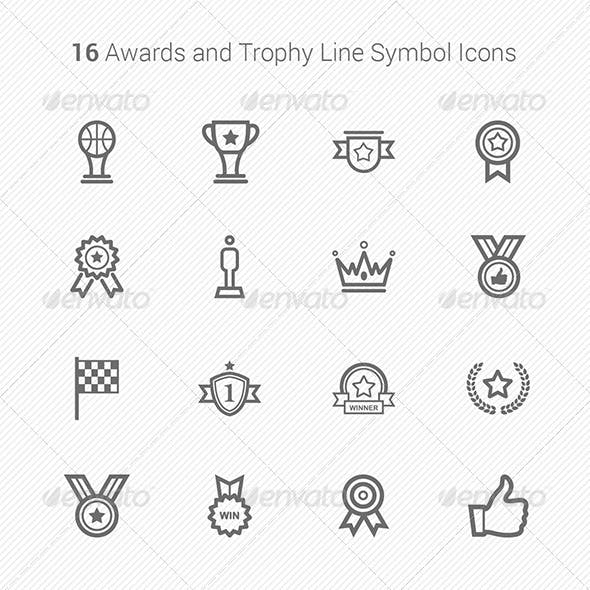 16 Awards & Trophy Line Symbol Icons