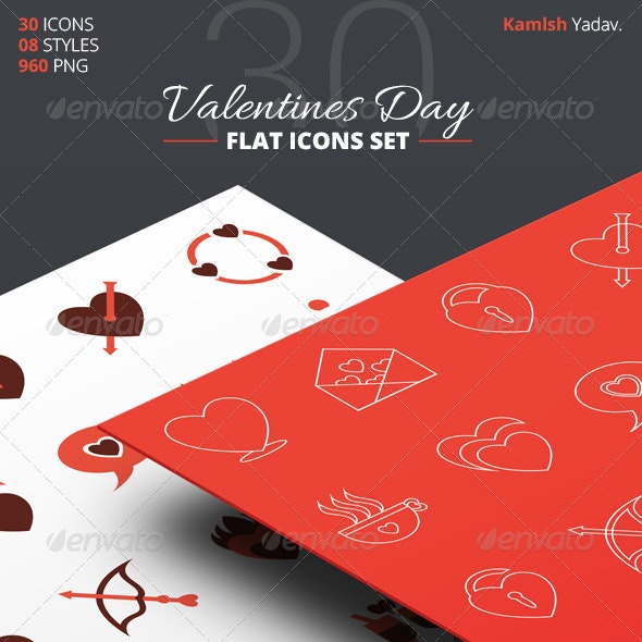 30 Flat Valentines Day Icon Set