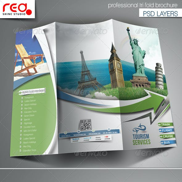 Travel Tours Trifold Brochure Template