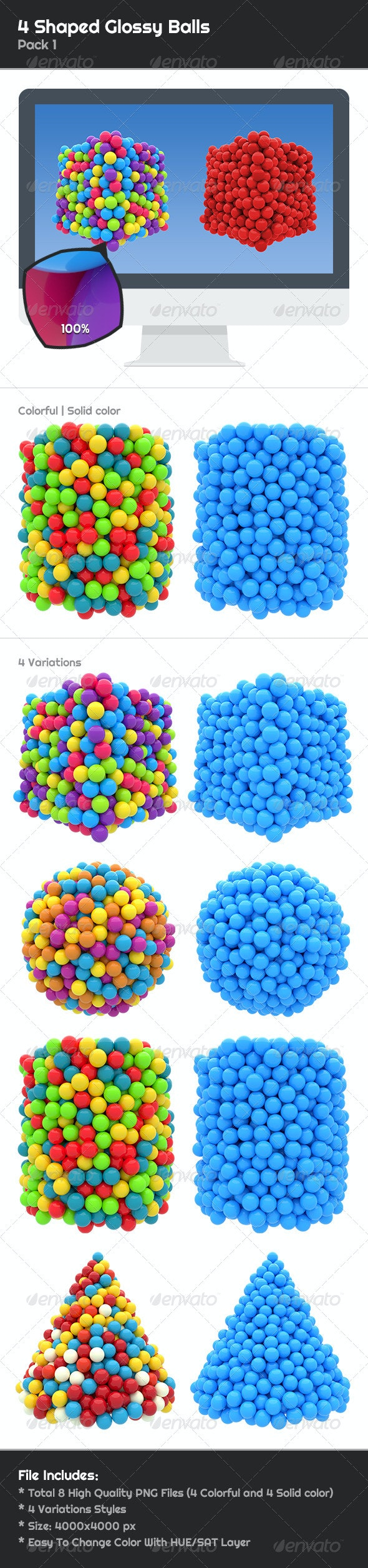 4 Shaped Glossy Balls - 3D Renders Graphics