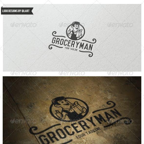 Vintage Grocery Man Logo