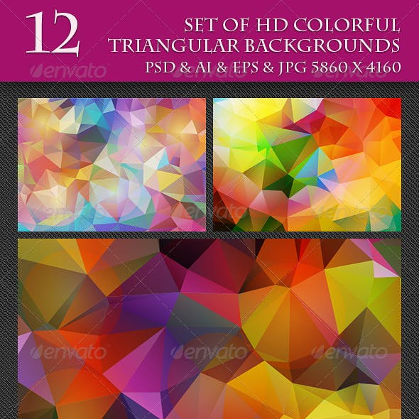 Set of 12 HD Colorful Triangular Backgrounds