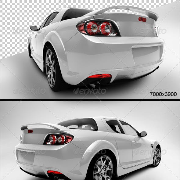 White Sport Car Back