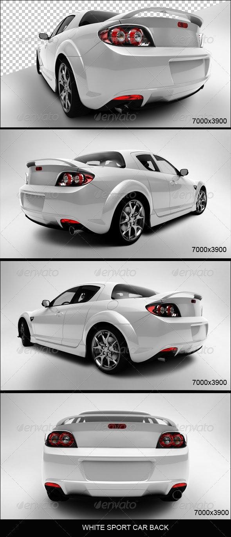 White Sport Car Back - 3D Renders Graphics