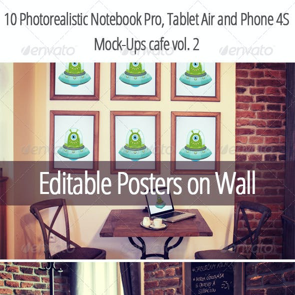 10 Photorealistic Device Mock-Ups in Cafe Vol.2
