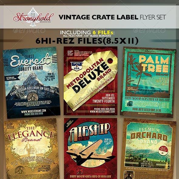 Vintage Fruit Crate Label Flyer Template Set