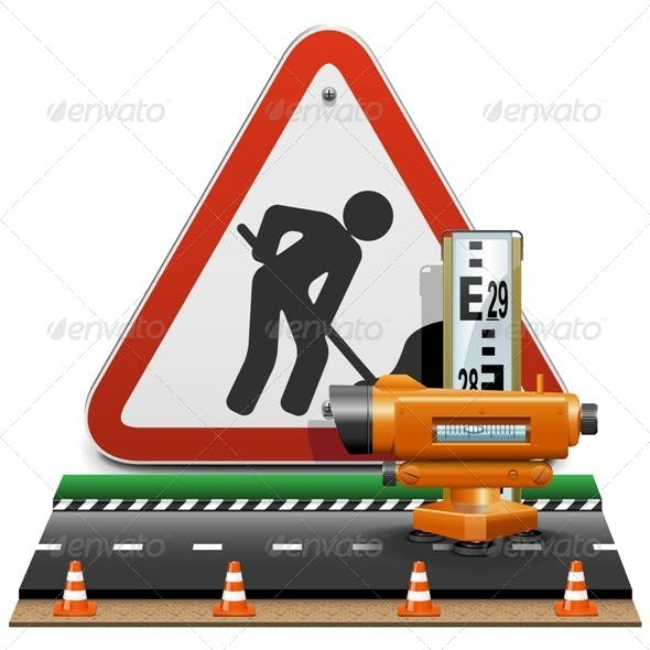 Vector Surveying Concept with Sign