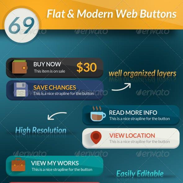 69 Flat & Modern Web Buttons