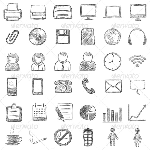 Set of 36 Black Sketch Icons