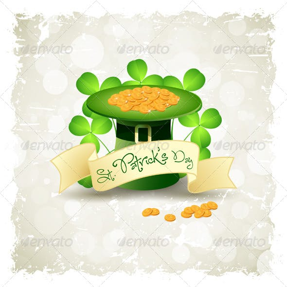 Grungy Patrick's Day Card with Leprechaun Hat