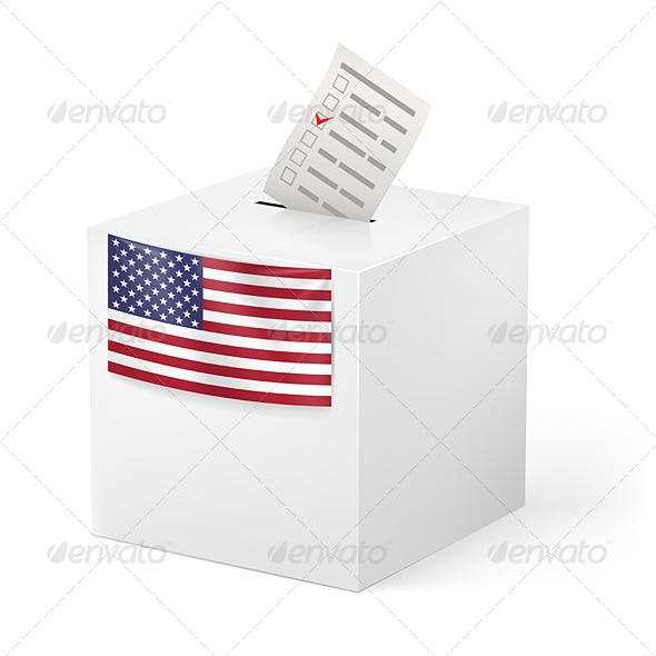 Ballot Box with Voicing Paper USA