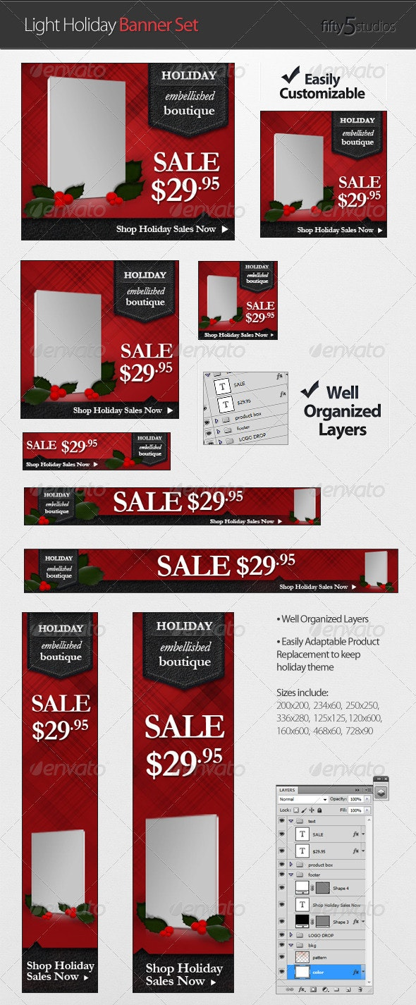 Light Holiday Banner Set - Banners & Ads Web Elements