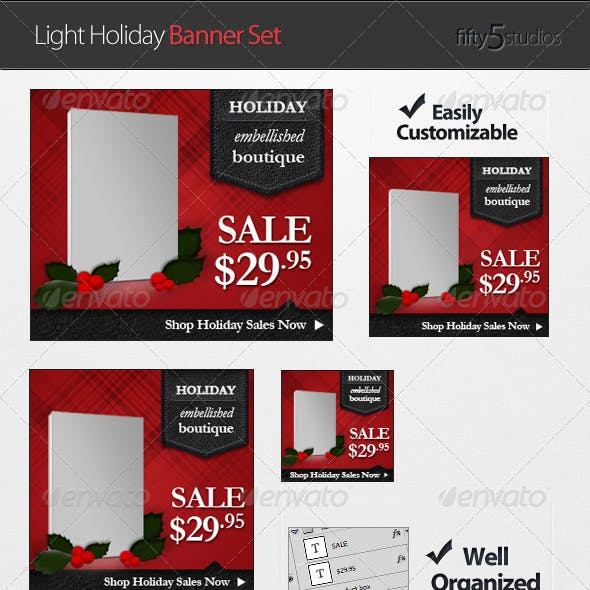 Light Holiday Banner Set