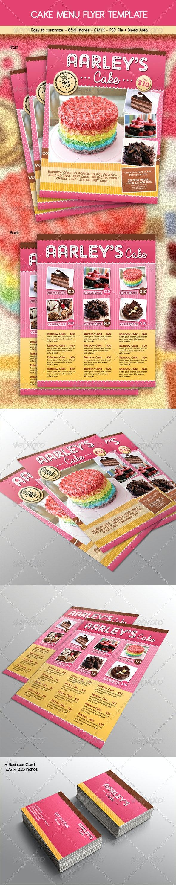 Cake Menu Flyer + Business Card - Restaurant Flyers