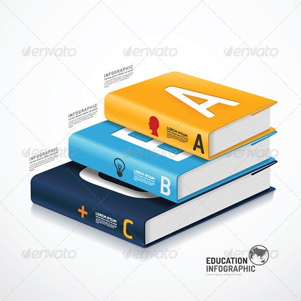 Infographic Template  Book Concept Illustration