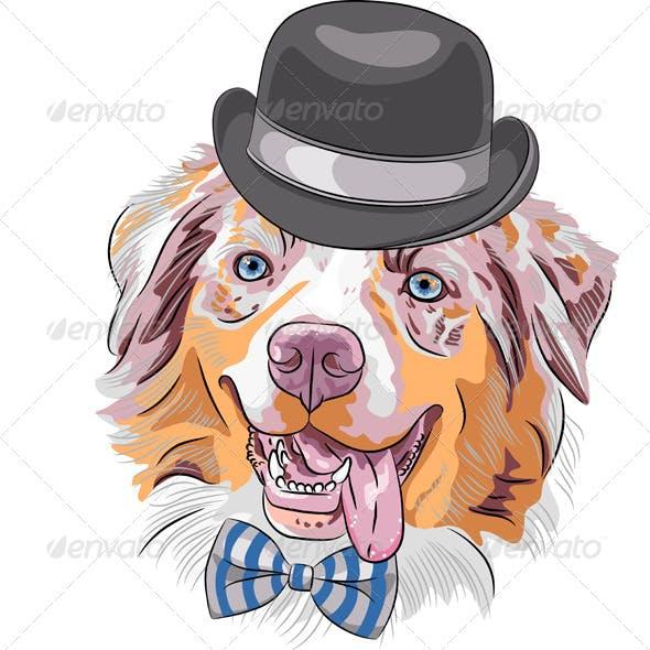 Cartoon Hipster Dog Australian Shepherd