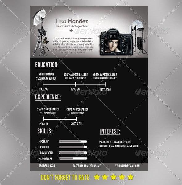 Simple photographer Resume - Resumes Stationery