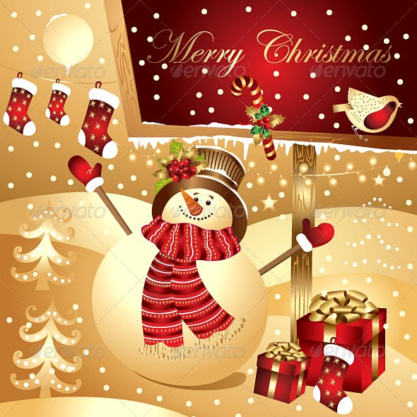 Christmas illustration with happy snowman
