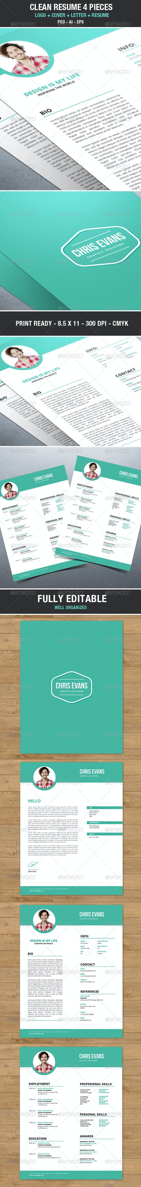 Clean Modern Resume / Cv with Cover Letter - Resumes Stationery