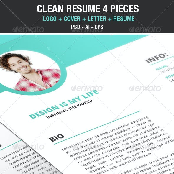 Clean Modern Resume / Cv with Cover Letter