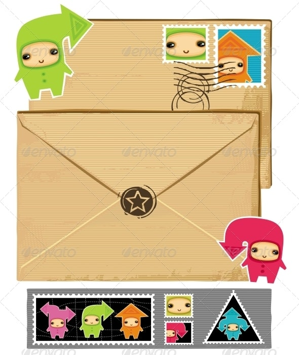 Funny envelope and stamps - Decorative Symbols Decorative