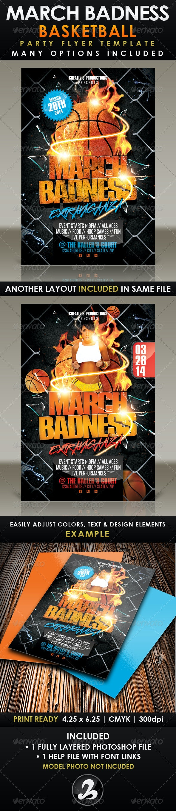 March Badness Basketball Party Flyer Template - Sports Events