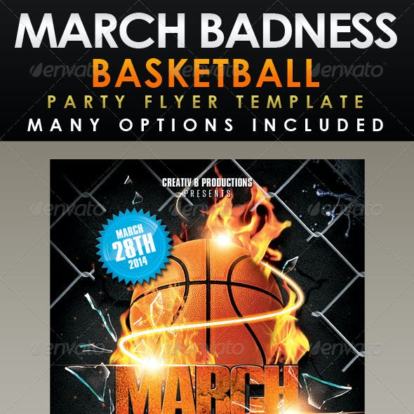March Badness Basketball Party Flyer Template