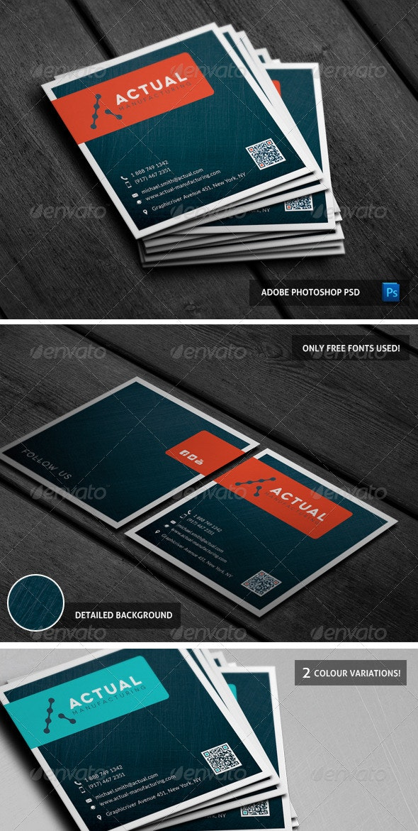 Square Brushed Metal Business Card - Business Cards Print Templates