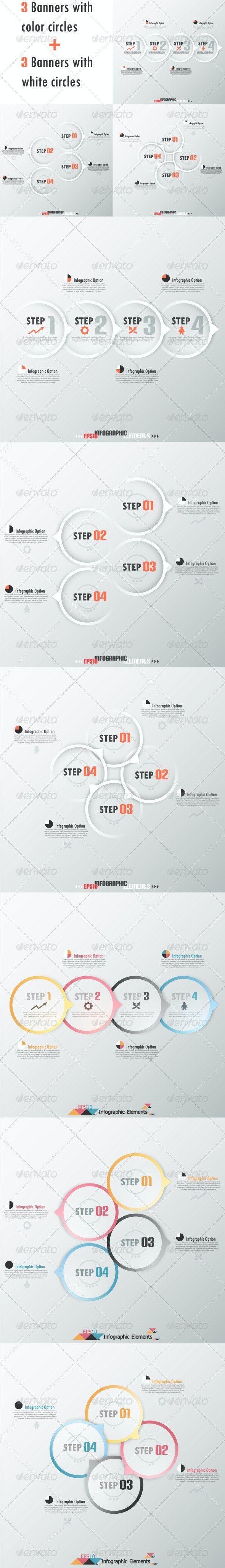 Set Of Six Modern Infographic Banners With Circles - Infographics