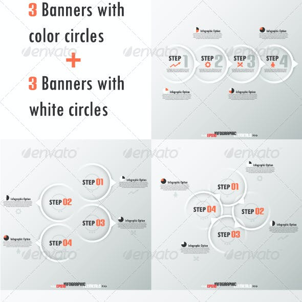 Set Of Six Modern Infographic Banners With Circles