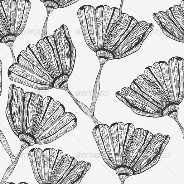 Seamless Pattern with Bizarre Flowers