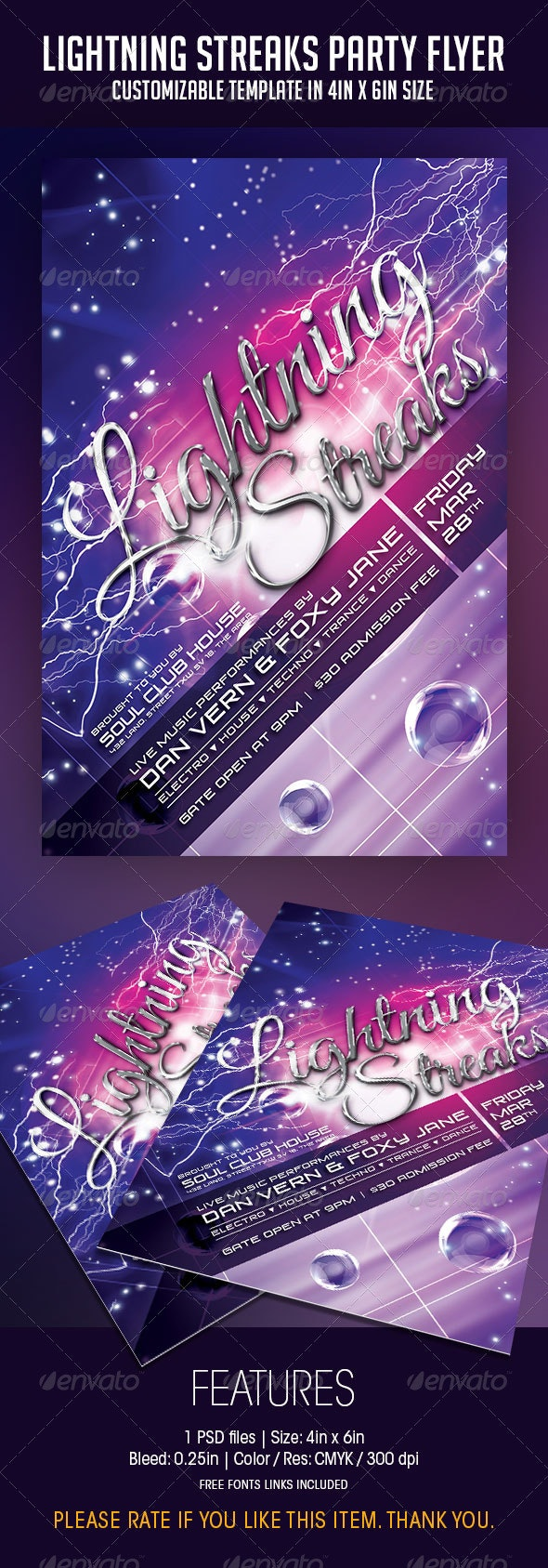 Lightning Streaks Party Flyer - Clubs & Parties Events