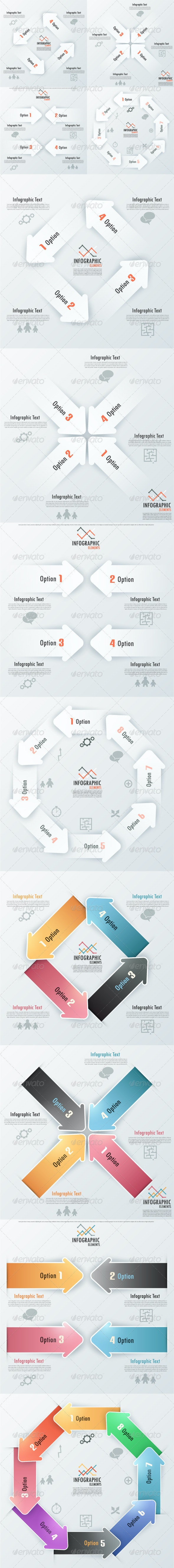 Set Of 8 Infographic Banners With Arrows - Infographics