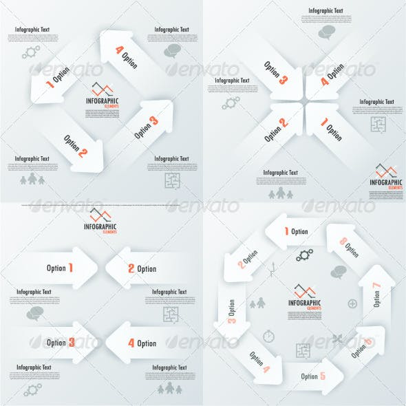 Set Of 8 Infographic Banners With Arrows