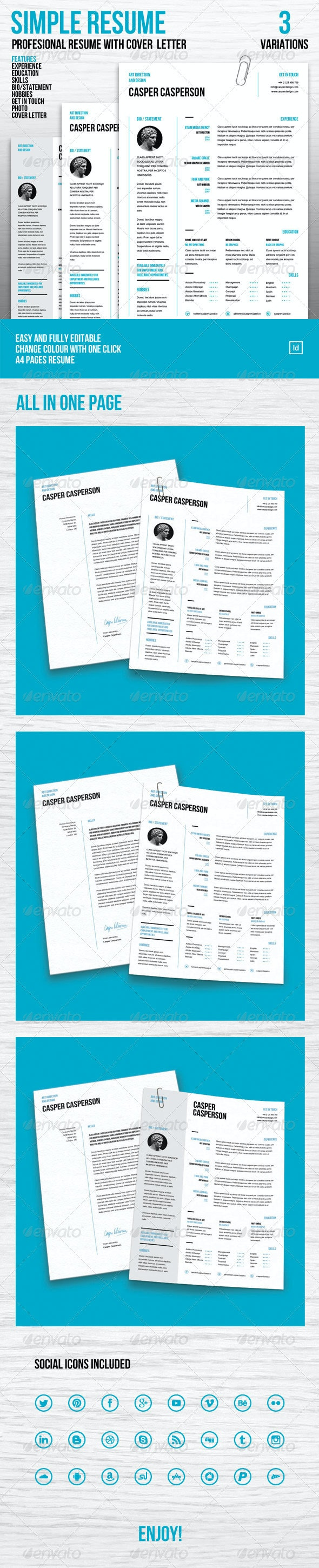 Simple Resume and Cover Letter - Resumes Stationery