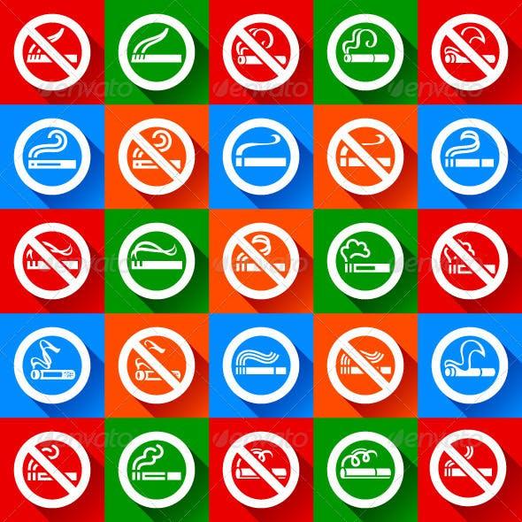 Set 25 stickers. No Smoking and Smoking Area Symbols