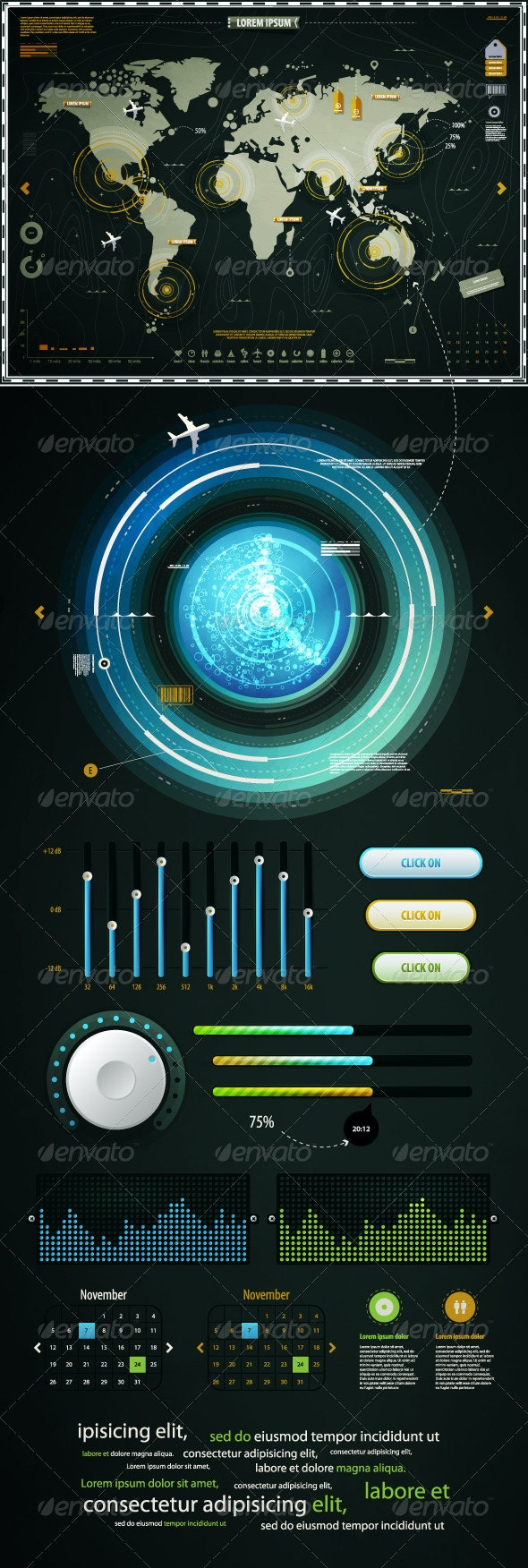 Infographics Elements of the World Map, and EQ