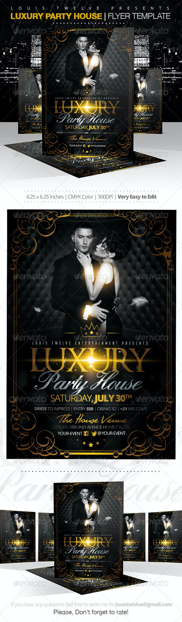 Luxury Party House | Flyer Template - Clubs & Parties Events